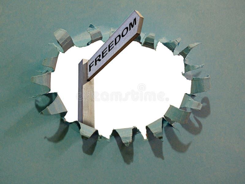 Droga wolności szyldowa wskazuje strzała przez drogi ewakuacyjnej zdjęcie royalty free