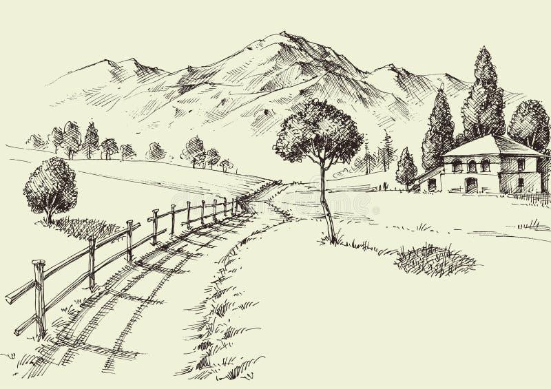 Droga wysokogórski dom wiejski ilustracja wektor