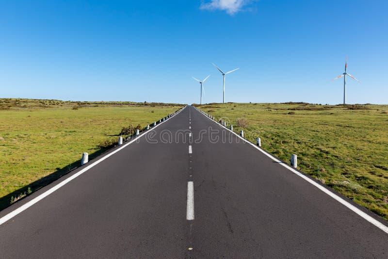 Droga z silnikami wiatrowymi przy madery wyspą, Portugalia obraz royalty free