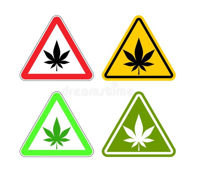 Drogas da atenção do sinal de aviso Perigos da marijuana e do si amarelo ilustração royalty free