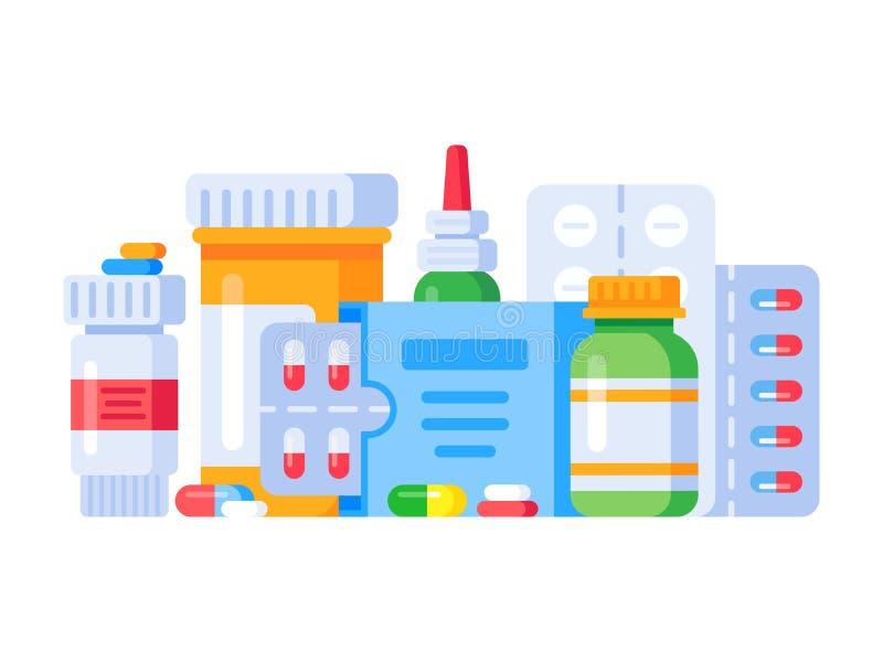 Drogas de la medicación Píldora de la medicina, botella de la droga de la farmacia y antibiótico o píldoras de aspirin Vector ais ilustración del vector