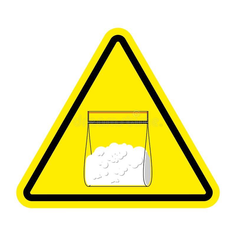 Drogas de la muestra de la atención La bolsa de plástico de la cocaína aislada Illus del vector ilustración del vector