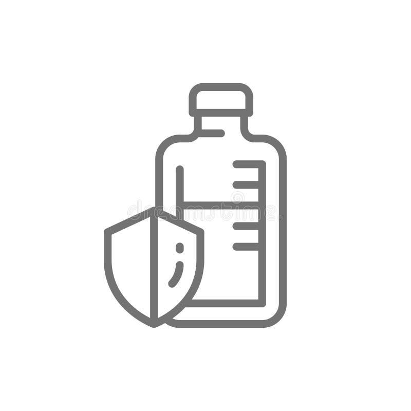 Drogas del sistema inmune, ampollas médicas, línea vaccínea icono stock de ilustración