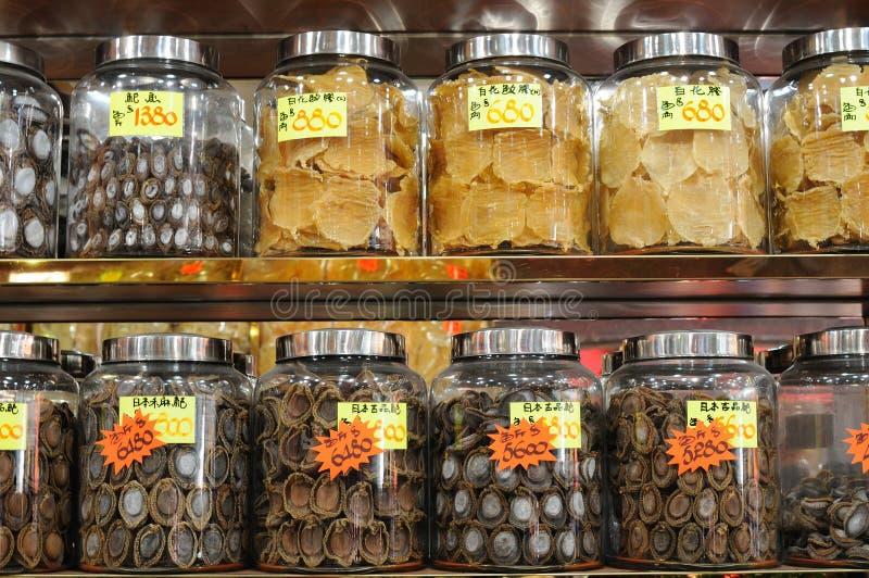 Droge abalone en vissenkrop royalty-vrije stock afbeelding