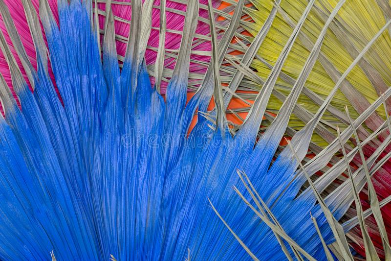 Droge blad Gele Rode roze en blauw voor Achtergrond stock foto