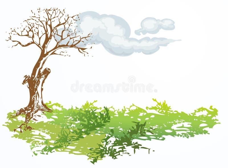 Droge boom met wolk vector illustratie