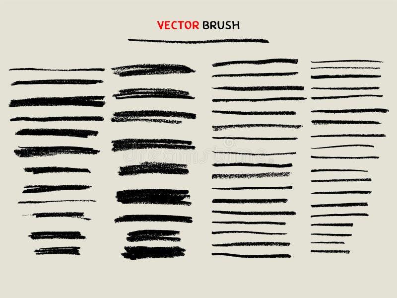 Droge de borstelreeks van de krijttextuur vector illustratie