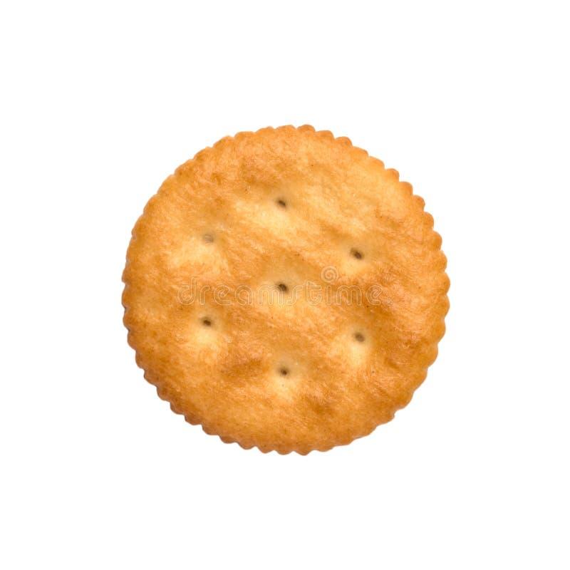 Droge die crackerkoekjes op wit knipsel als achtergrond, hoogste mening, concept worden geïsoleerd voedsel stock foto