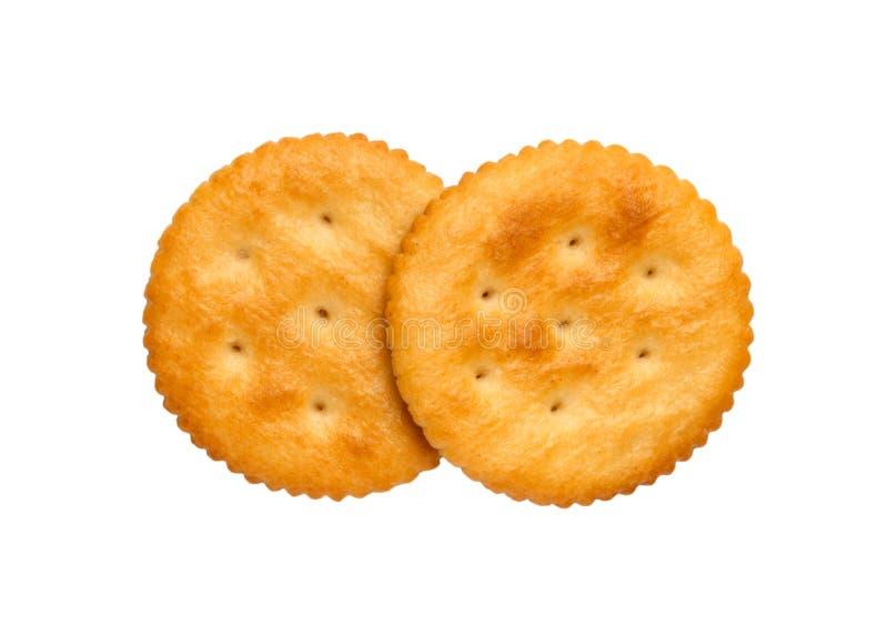 Droge die crackerkoekjes op wit knipsel als achtergrond, hoogste mening, concept worden geïsoleerd voedsel stock afbeelding