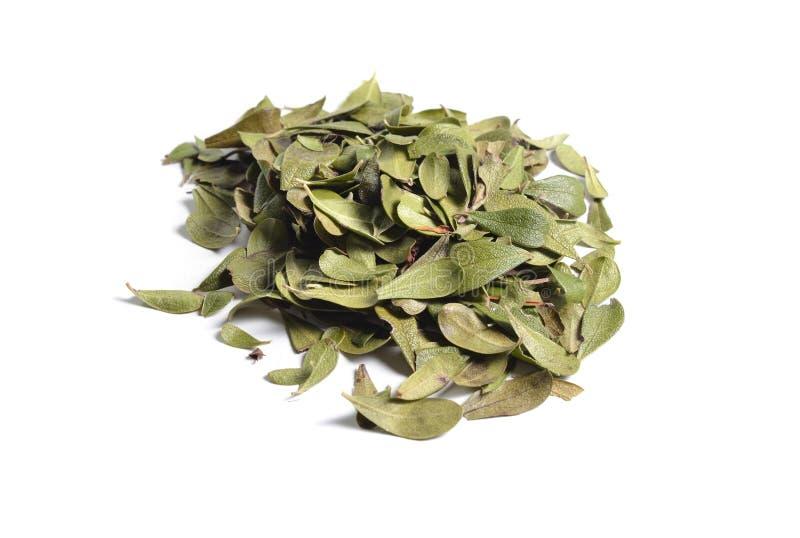 Droge geneeskrachtige kruiden grondstoffen op wit bladeren van royalty-vrije stock afbeelding