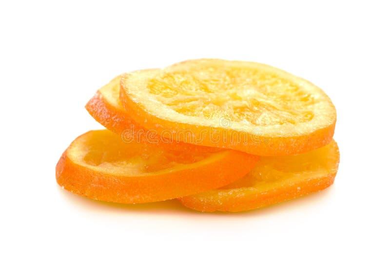 Droge gezoete sinaasappel geglaceerde sinaasappelschil en gezoet stock foto's