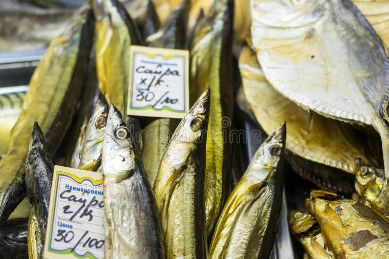 Droge Gezouten Vissen in een Russische Winkel royalty-vrije stock afbeeldingen
