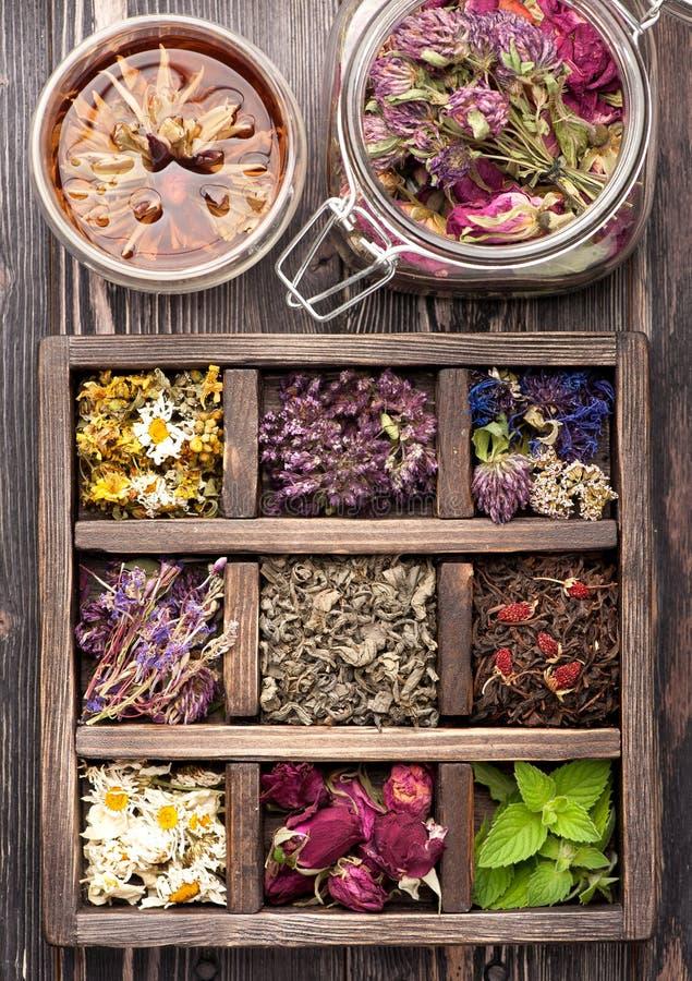 Droge Kruiden en bloemen en aftreksel royalty-vrije stock afbeeldingen