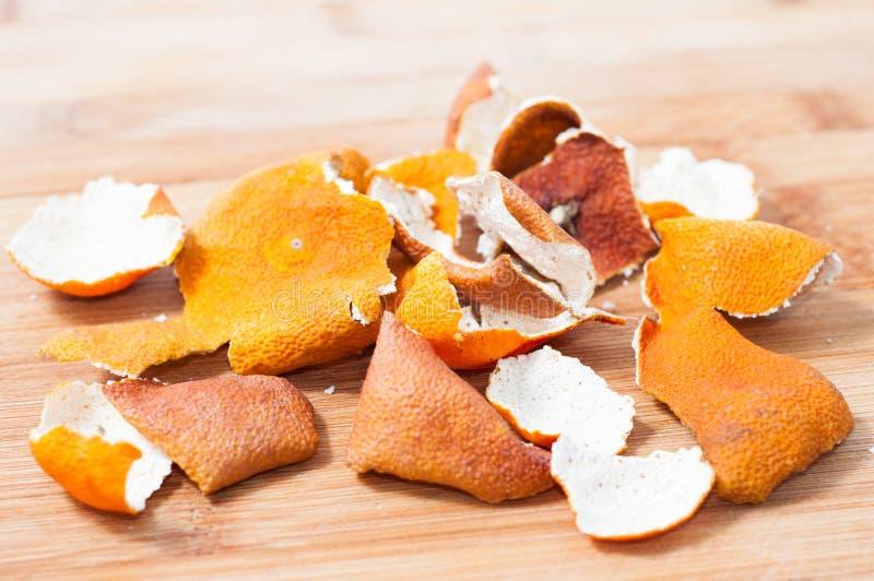 Droge mandarijnschil stock foto