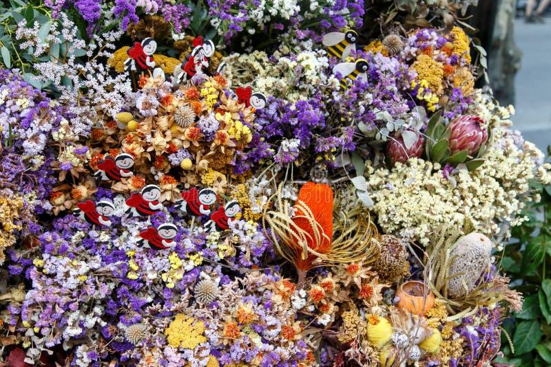 Droge mooie bloemen op boeketten royalty-vrije stock afbeelding