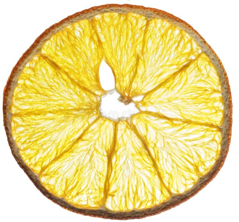Droge oranje die fruitplakken op witte achtergrond worden geïsoleerd organisch stock afbeelding