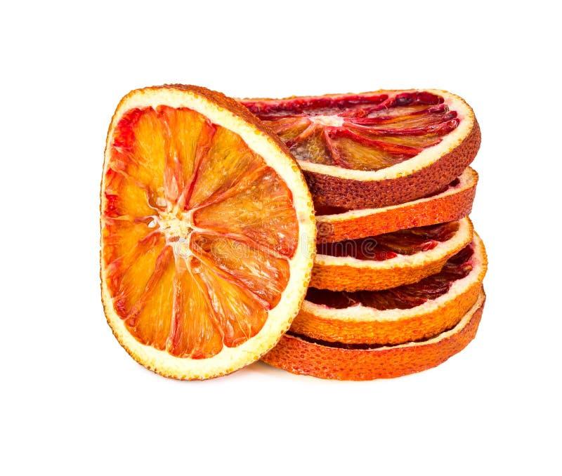 Droge oranje die plakken op wit worden geïsoleerd royalty-vrije stock foto's
