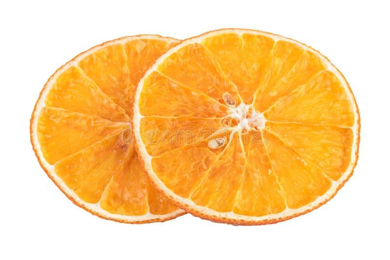 Droge Oranje Plakken Geurige oranje die plakken van Kerstmis de aromatische kruiden op wit worden geïsoleerd stock fotografie