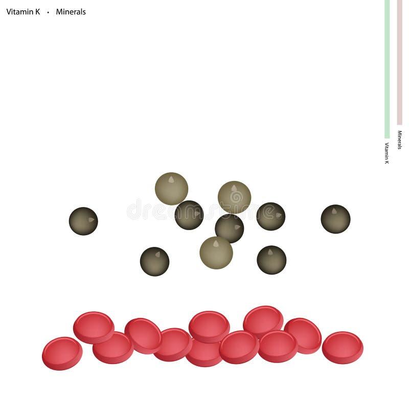 Droge Peperbollen met Vitamine K en Mineralen stock illustratie