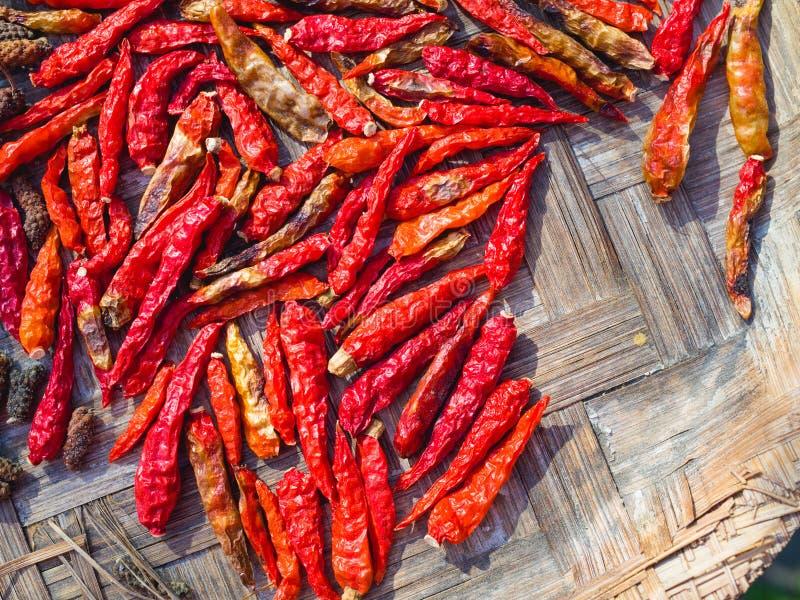 Droge rode Spaanse peper of Spaanse pepercayennepeper op bamboedienblad stock fotografie