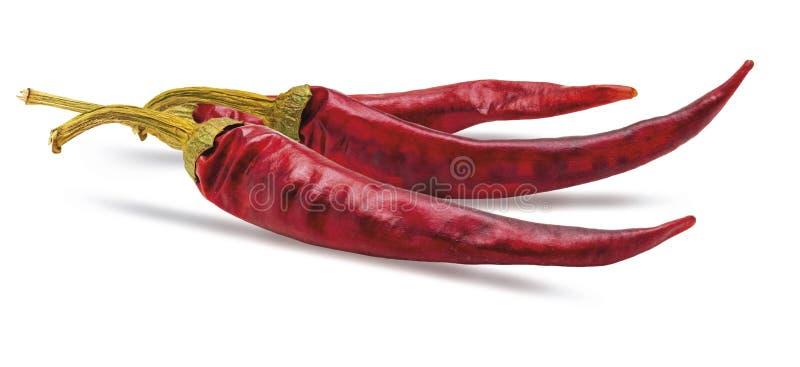 3 droge rode Spaanse peperspeper stock fotografie
