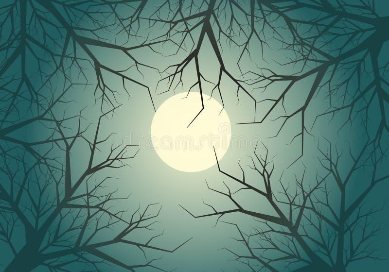 Droge van de de wildernismaan van de takjesboom lichte de hemelnacht op Halloween-de vectorachtergrond van het vieringsfestival vector illustratie
