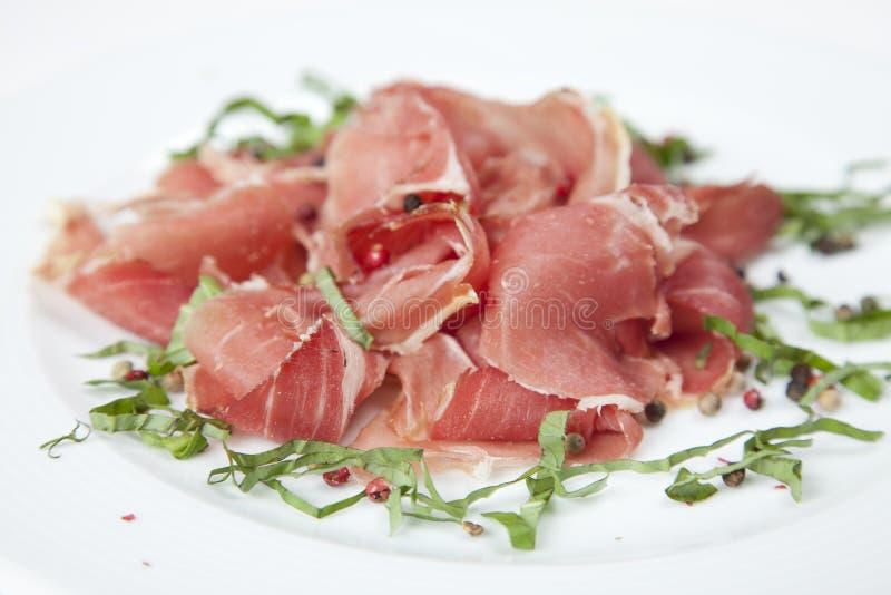 Droge varkensvleessalade stock afbeeldingen