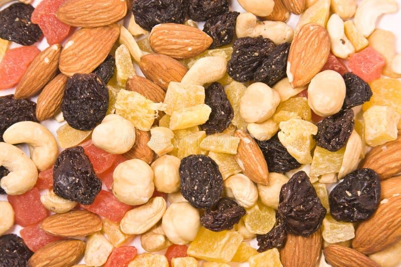 Droge vruchten en notenmengelingstextuur stock afbeelding