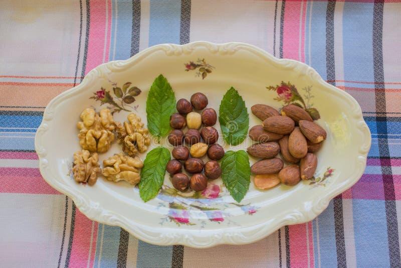 Droge vruchten op de ceramische plaat van Rosenthal stock foto's