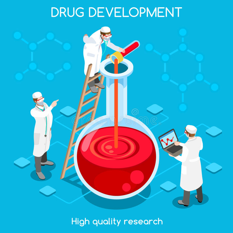 Drogen-Entwicklungs-Leute isometrisch lizenzfreie abbildung