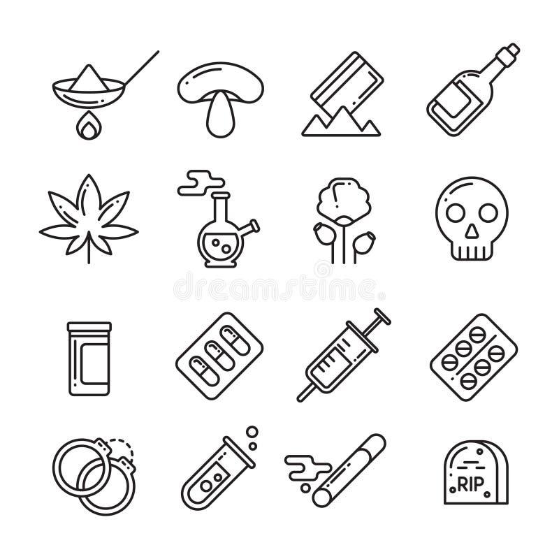 Drogen, Heroin, Alkohol, rauchende Sucht zeichnen dünn Vektorikonen lizenzfreie abbildung