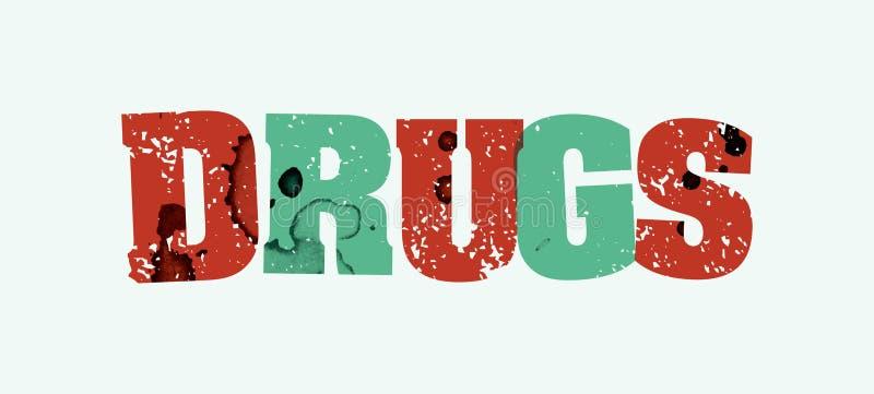 Drogen-Konzept gestempeltes Wort Art Illustration vektor abbildung