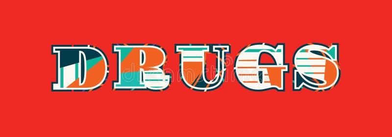 Drogen-Konzept-Wort Art Illustration stock abbildung