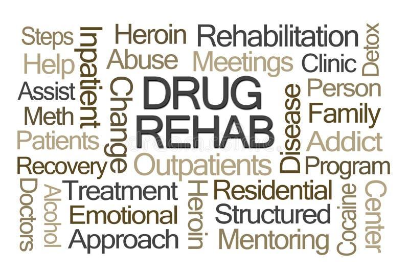 Drogen-Rehabilitations-Wort-Wolke lizenzfreie abbildung
