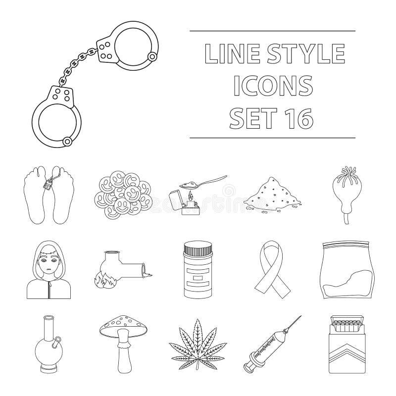Drogen stellten Ikonen in der Entwurfsart ein Große Sammlung Drogen vector Illustration des Symbols auf Lager lizenzfreie abbildung