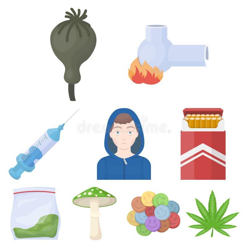Drogen stellten Ikonen in der Karikaturart ein Große Sammlung Drogen vector Illustration des Symbols auf Lager lizenzfreie abbildung