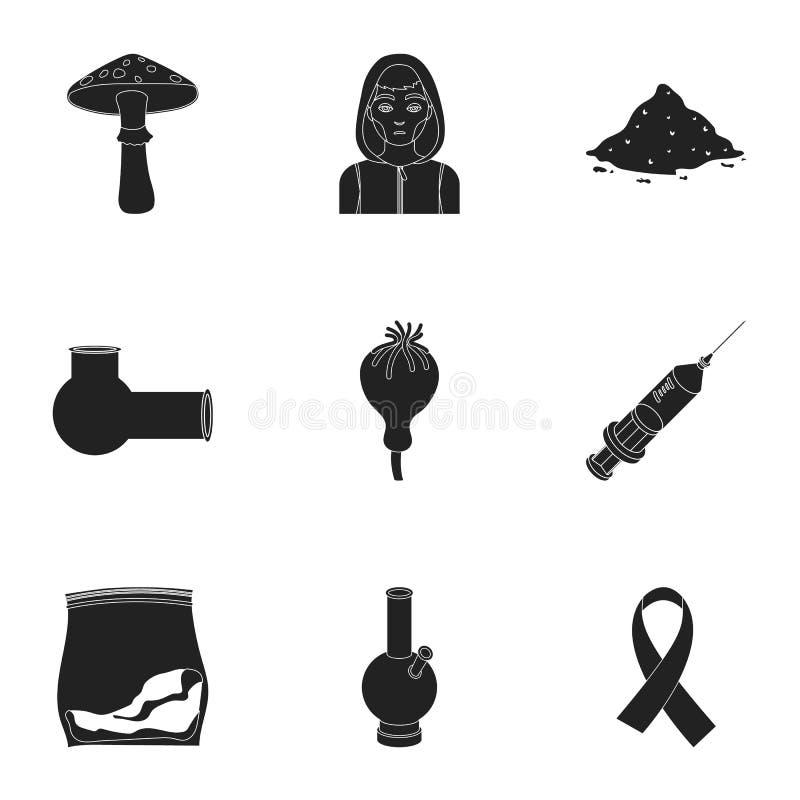 Drogen stellten Ikonen in der schwarzen Art ein Große Sammlung Drogen vector Illustration des Symbols auf Lager vektor abbildung