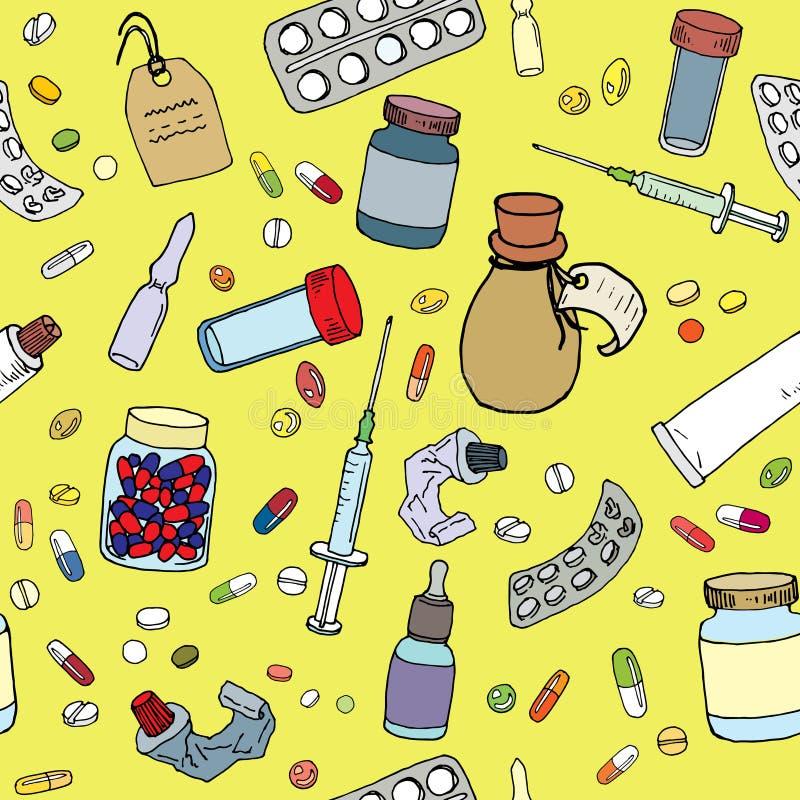 Drogen und nahtloses Muster der Arzneimittel: Pillen, Glas mit Medizin, Spritze, Rohr der Salbe - Vektorillustration vektor abbildung