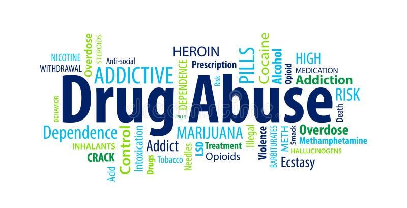 Drogenmissbrauch-Wort-Wolke lizenzfreie abbildung