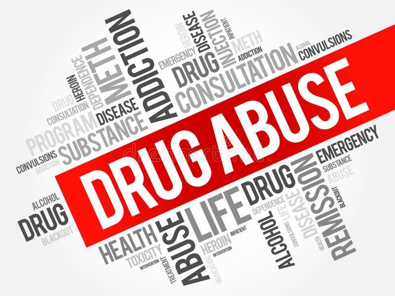 Drogenmissbrauch-Wortwolkencollage stock abbildung