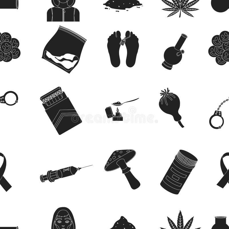 Drogenmusterikonen in der schwarzen Art Große Sammlung Drogen vector Illustration des Symbols auf Lager lizenzfreie abbildung