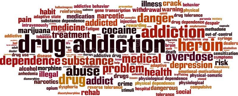 Drogensuchtwortwolke lizenzfreie abbildung