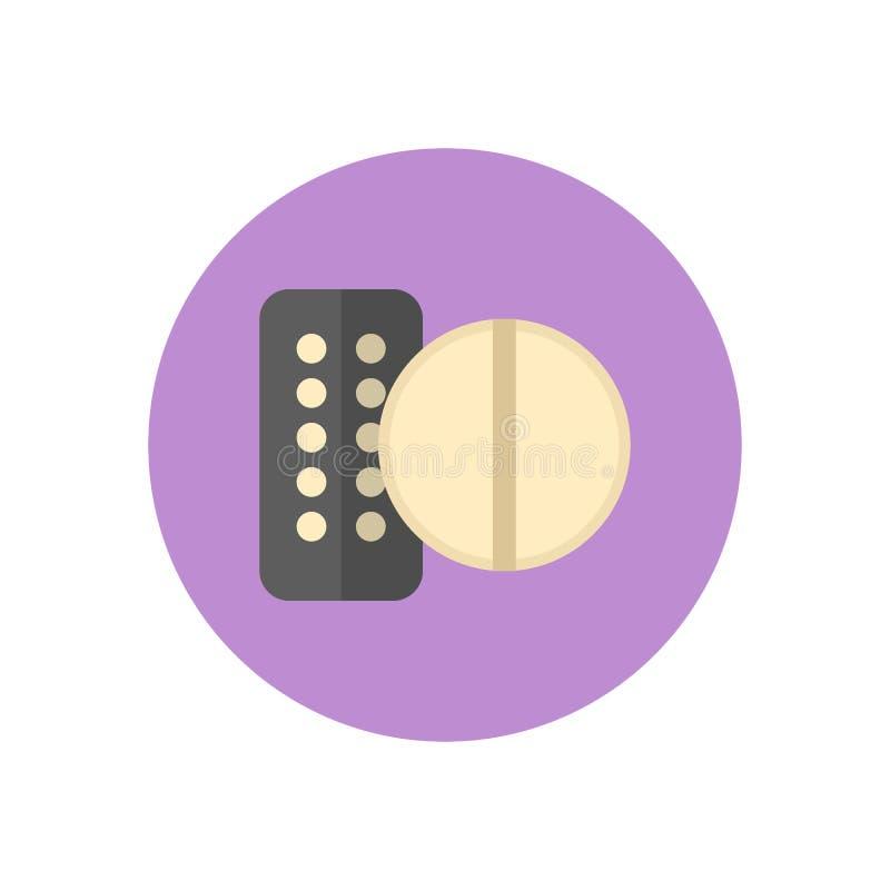 Droger mediciner sänker symbolen Den runda färgrika knappen, den runda vektorn för minnestavla och för preventivpillerar undertec royaltyfri illustrationer