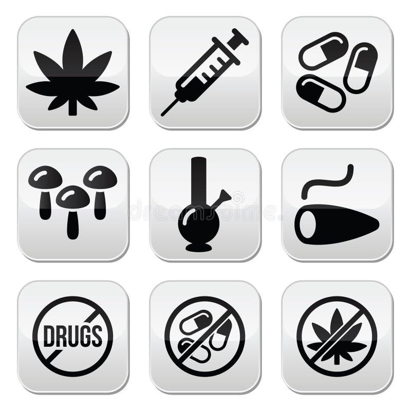 Droghe, dipendenza, marijuana, bottoni della siringa messi royalty illustrazione gratis