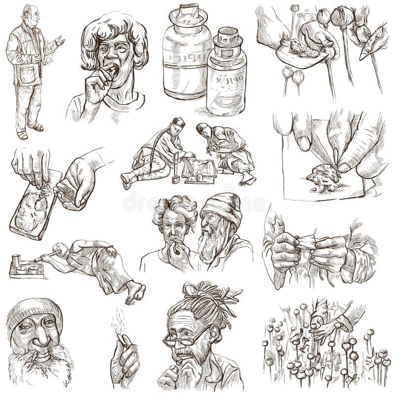 Droghe - illustrazioni disegnate a mano 100% illustrazione vettoriale