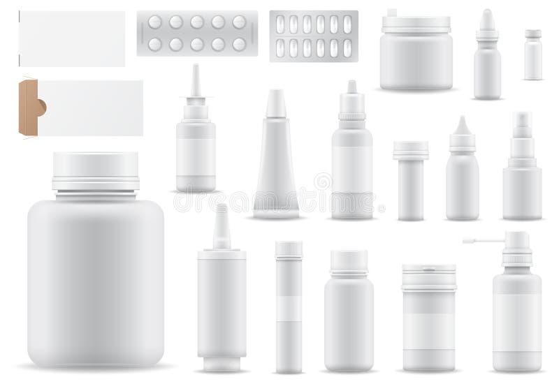 Droghe o pillole della medicina di vettore della farmacia nel farmaco dell'illustrazione della bottiglia del modello o del conten illustrazione di stock