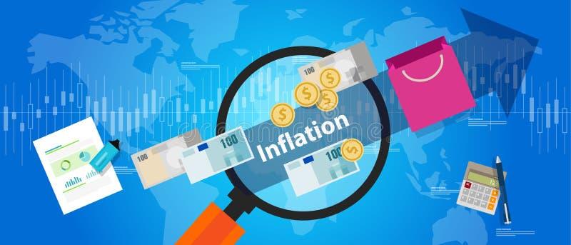 Drogheria blu di concetto dell'illustrazione del macro indicatore di economia di aumento dei prezzi delle merci di inflazione illustrazione di stock