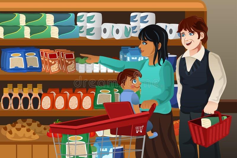 Drogheria di acquisto della famiglia insieme royalty illustrazione gratis