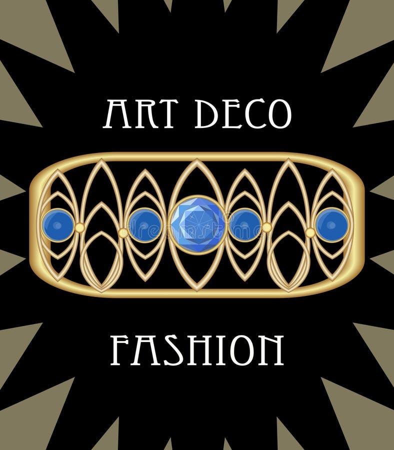 Drogi art deco filigree broszka w prostokąta składzie z błękitnymi szafirami, antykwarski złocisty klejnot, moda w wiktoriański s ilustracji