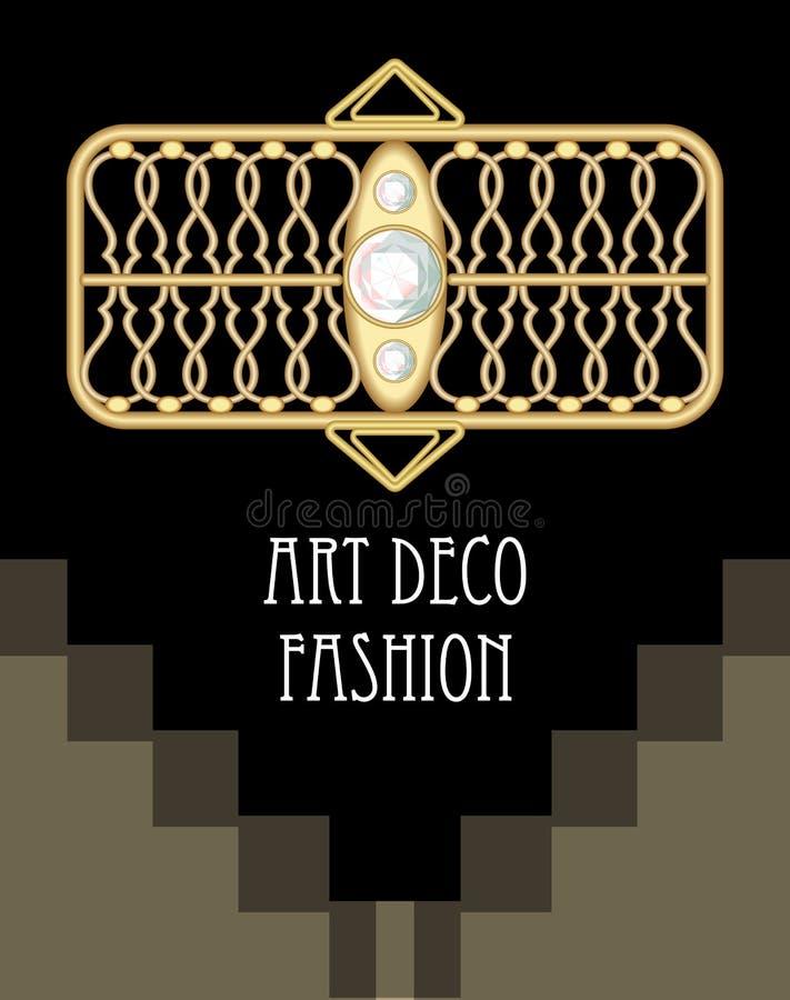 Drogi art deco filigree broszka w prostokąta składzie z diamentami, moda w wiktoriański stylu, antykwarski złoto ilustracji